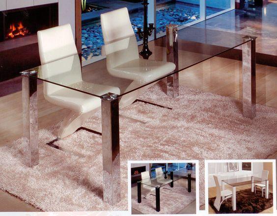 Mesa de comedor redonda de cristal con pata central de - Mesa comedor cristal redonda ...
