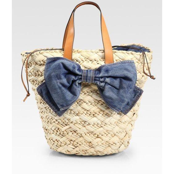 RED Valentino Straw & Denim Bucket Bag, found on polyvore.com