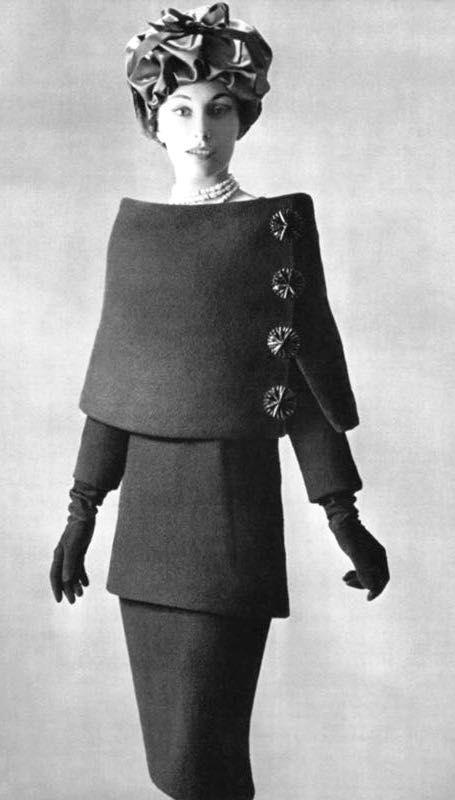 Balenciaga, 1956 vintage fashion unique designs designer dress suit wool cowl buttons jacket skirt 50s