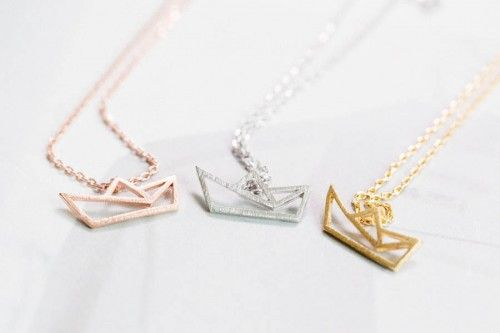 Origami Boat ship Necklace, Paper boat ship necklace in 3 colors