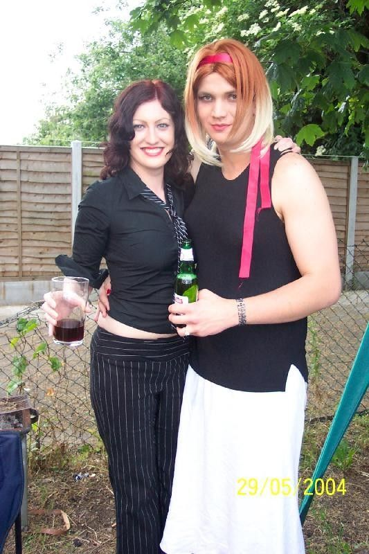 Great to see supportive females with crossdressed guys.