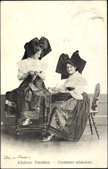 Postcard Elsässer Trachten, Costumes Alsaciens, Elsaß Lothringen, Trachten, Stricken.  Postally used 1908.