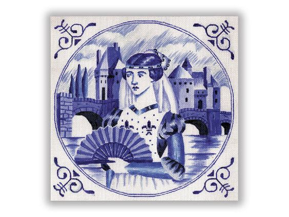 """Blue and white needlepoint canvas of a medieval lady in the style of blue and white tiles.  design: 10"""" x 10""""   18 mesh  $52.00"""