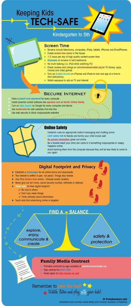 Great infographic on how to keep elementary school kids tech-safe, including internet safety, online security and technology rules for families! Something all parents need to know!:
