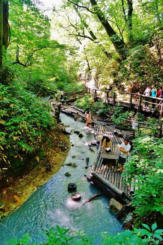 """Warm river""  Noboribetsu forest , Hokkaido  Japan     by Davide Akiyama"