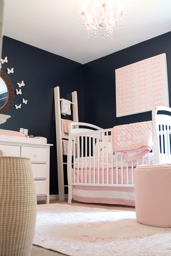 Feminine Navy and Pink Nursery from The Doll Kind | Featuring our Jaipur Fables Rug in Pink: http://www.rugs-direct.com/Details/JaipurRugs-Fables-Malo/121454/194974?utm_source=pinterest&utm_medium=social