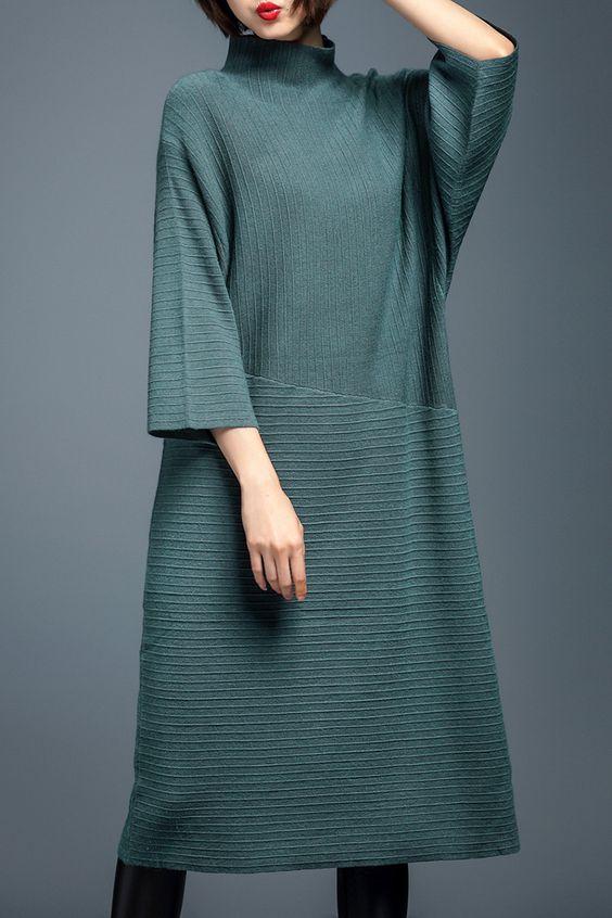 Turtleneck Midi Sweater Dress