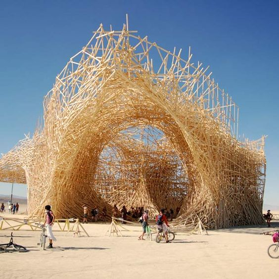 Arne Quinze. massive wood canopies installed in metropolitan locations to create places of social interaction.