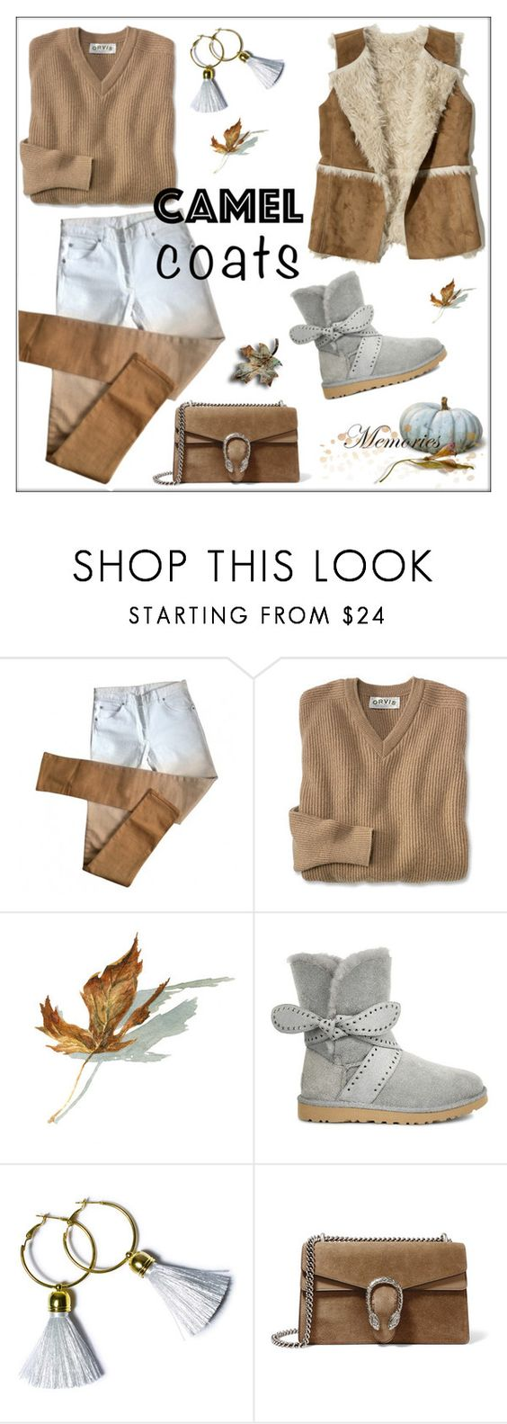 """Camel Coats"" by pat912 ❤ liked on Polyvore featuring Maison Margiela, UGG, Suzywan DELUXE, Gucci and Hollister Co."