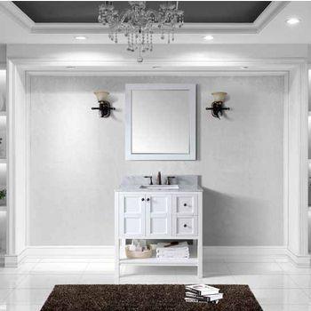 Winterfell Single Square Sink Bathroom Vanity Set, Espresso with Italian Carrara Marble Top