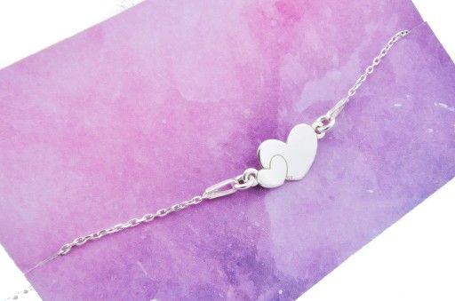 Bransoletka Srebrna Dwa Serca Serce Serduszka 925 Sterling Silver Heart Bracelet Sterling Silver Heart Heart Bracelet