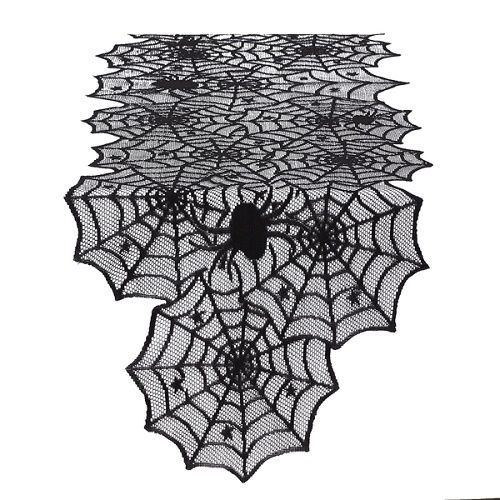 HALLOWEEN-TABLERUNNER-BLACK-LACE-SPIDERWEB-PARTY-DECORATION-LONG-TABLE-TOP-COVER…