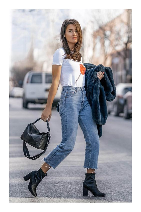 Básicos para un closet chic #TiZKKAmoda #jeans #denim #mezclilla #Tshirt #blanco #botas #negro #bolsa #look #fashion