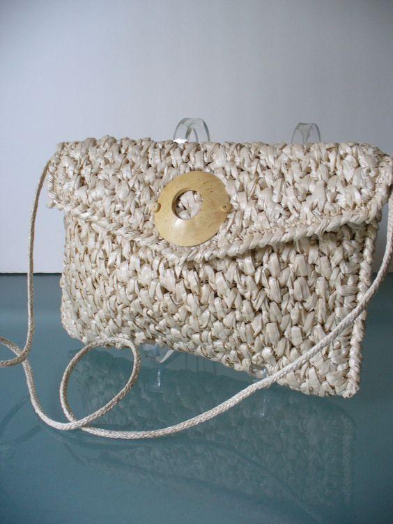 Vintage Vanessa Ivory Raffia Shoulder Bag by TheOldBagOnline on Etsy