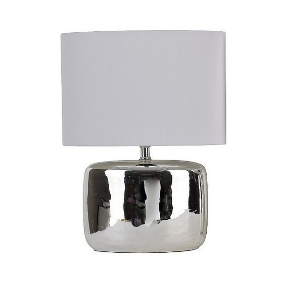 Table Lamp with Solid Liner Shade - Chrome, Silver ($30) ❤ liked on Polyvore featuring home, lighting, table lamps, silver, chrome lighting, silver lamp, chrome lamp, chrome table lamp and j hunt lamps
