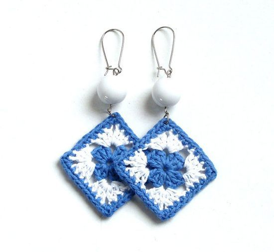 Denim blue and white crochet square earrings  crochet by | http://awesomewomensjewelry.13faqs.com
