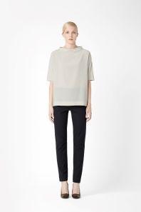 Standing collar silk top