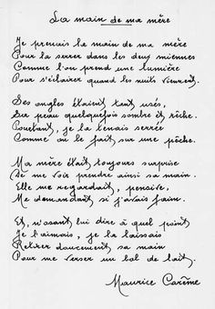 La Main De Ma Mère Maurice Carême écrits Maurice