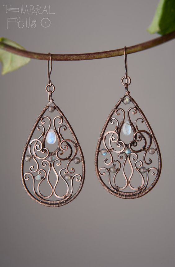 Ornamental-Oriental drop earrings. Oxidized by TemporalFocus