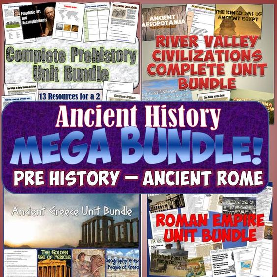 This amazing MEGA-bundle includes 4 entire unit bundles together for an incredible money and time saving deal! With this one download, you get complete units on Prehistory, River valley Civilizations, Ancient Greece, and Ancient Rome!