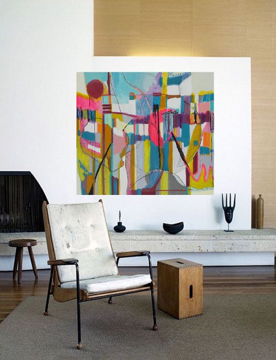 Bold colorful large abstract art oil painting by danielle for Abstract art for dining room