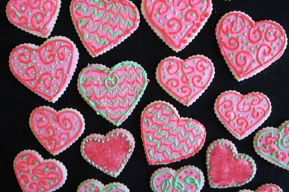 Last year's Valentine cookies that I made. I use a standard royal icing recipe to decorate these cookies.