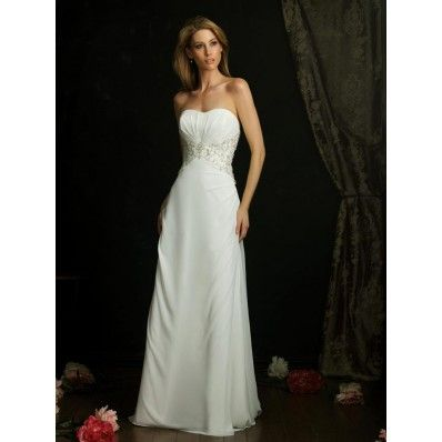 Ivory Strapless Chiffon Column/Sheath Designer Wedding Dress BOTS0770