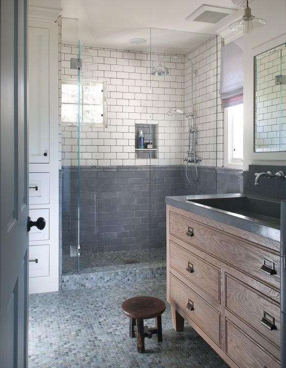 Traditional and classic bathroom design with mosaic tile floor - Amy Meier Design. Jo Malone London Body & Hand Wash (In case you need it!)