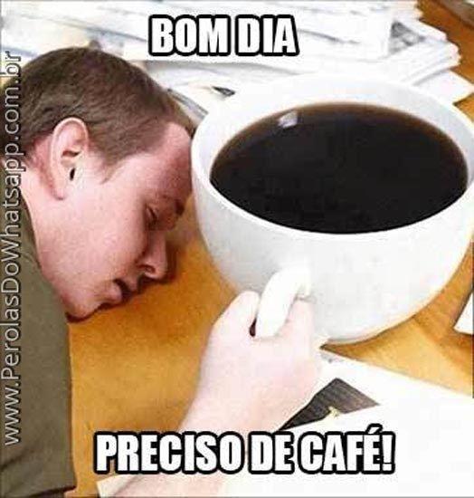 Ele precisa tomar um café.