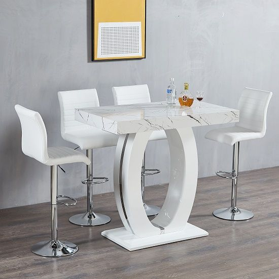 Halo Bar Table In Shiny Marble Finish 4 Ripple White Bar Stools In