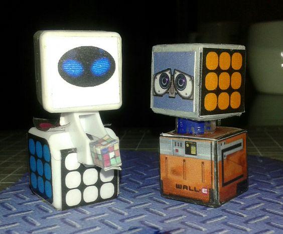 Wall-e y Eva cubo rubik