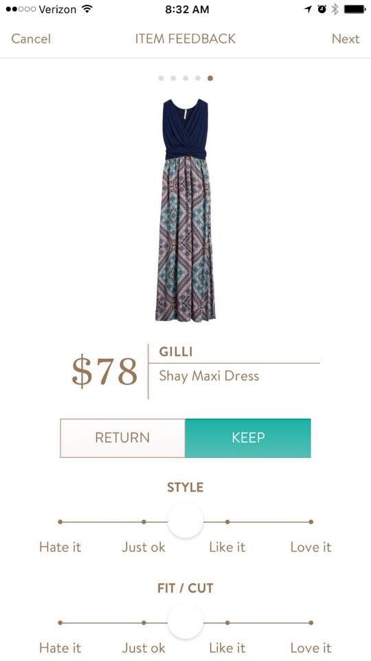 Stitch Fix - Gilli Shay maxi dress. I love a good maxi dress, and I like the print and top portion of this maxi.