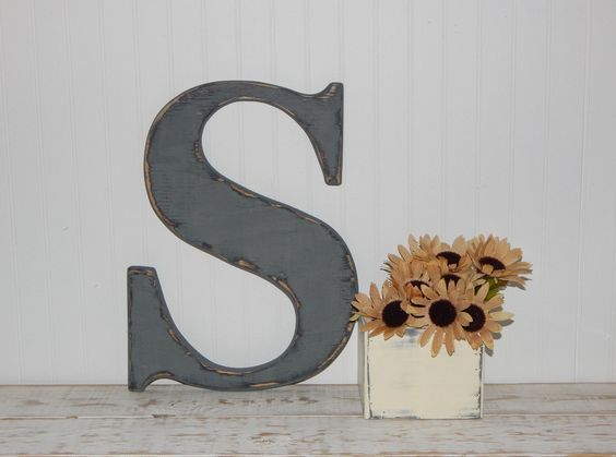 large wooden letter s or any letter distressed 18 inch wood letters choose letter color