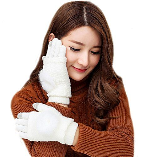 Aisa Women Girls Winter Touch Screen Gloves Rabbit Fur Ball Knit Wool Gloves Thick Windproof Mittens Color White *** You can find more details by visiting the image link.