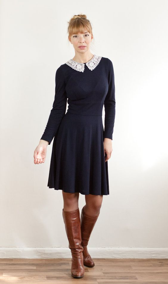 navy blue knee length shift dress with white lace collar