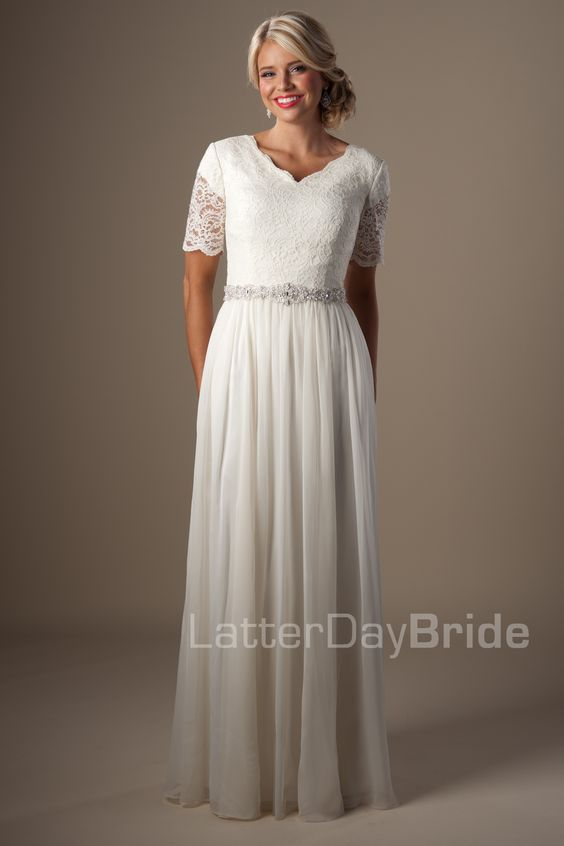 Modest wedding dresses leonora latter day bride for Mormon modest wedding dresses