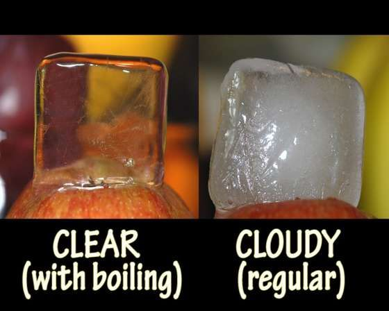 Use boiling water instead of tap water to make clear ice. Great for putting fruit, herbs, flowers or surprises in.