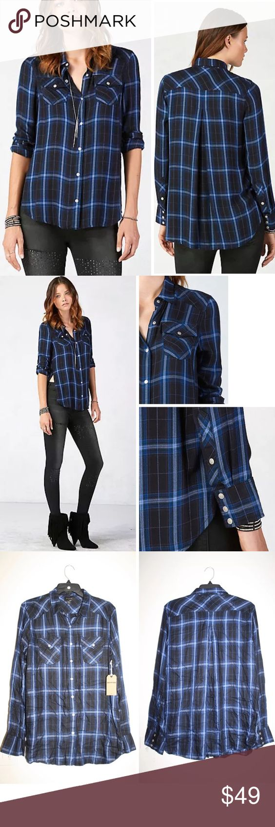 "$132 TRUE RELIGION GEORGIA PLAID BUTTON DOWN SHIRT Authentic TRUE RELIGION relaxed georgia plaid shirt  $132 retail, new with tags!  Our signature Georgia shirt for women in a bold, yet ultra-soft, plaid features ruching detail and a step-hem silhouette that's longer in the back.  Women's shirt Relaxed fit 100% rayon Imported Size Large; armpit to armpit flat 21"", length in back 30.5"" True Religion Tops Button Down Shirts"