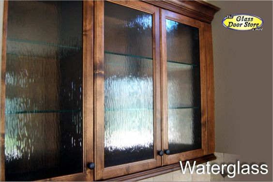 Waterglass in dark wood kitchen cabinet doors cabinet for Glass replacement doors for kitchen cabinets