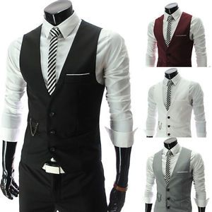 MENS WEDDING WAISTCOAT FORMAL CASUAL SLEEVELESS SUITS FITTED