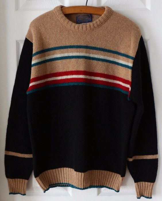 Vintage Pendleton 100% Wool Crew Neck Pullover Sweater Multi Color Striped M #Pendleton #Crewneck