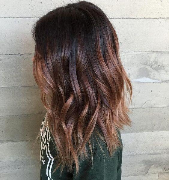 black hair with dark brown highlights brown hair color