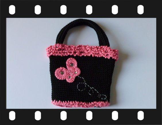 Handmade Crochet Black Handbag / Purse with by EccentricEmporium1, $85.00