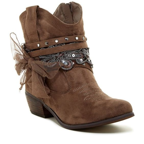 NAUGHTY MONKEY Mischief Embellished Bow Ankle Boot ($40) ❤ liked on Polyvore featuring shoes, boots, ankle booties, ankle boots, taupe, faux-suede boots, short cowgirl boots, western boots, faux suede booties and suede ankle boots