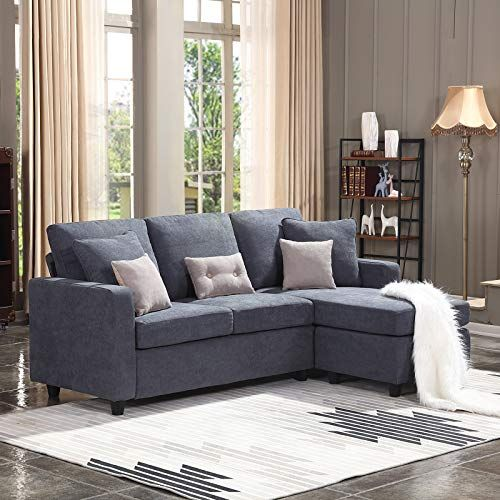 Honbay Convertible Sectional Sofa Couch L Shaped Couch With Modern Linen Fabric For Small Space Dark Grey In 2020 Couches Living Room Sectional Sofa Couch Couches Living