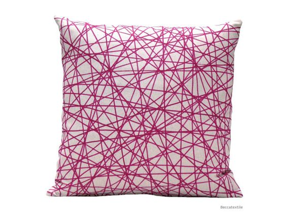 Geometric pillow cover  -  Pink Fuchsia pillow - Natural  modern cushion