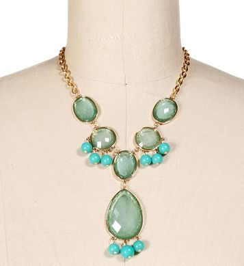 Gold/Teal Faceted Gemstone Drop Necklace