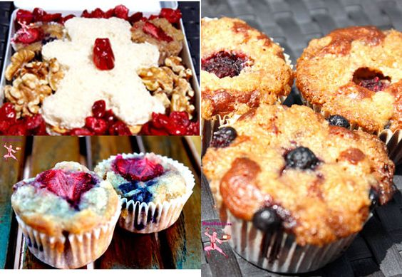 Berry Nutty Bento  Mixed berry muffins keep a peanut buter bear sandwich company in a bento box  #bento #easyrecipes #muffin