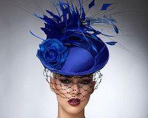 Royal Blue Fascinator, cocktail hat, Headpiece, Royal ascot hats,Melburne cup hats, Couture hat.