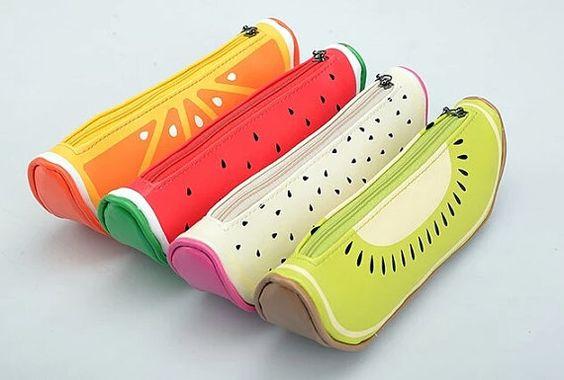 Fruta rebanada lápiz bolsa estuche de cremallera, bolsa de la pluma, sandía, naranja, Kiwi, Pitaya, útiles escolares, regalos, sorpresa llena de opción